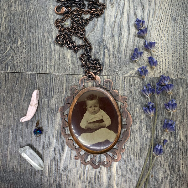 tintype photograph necklace