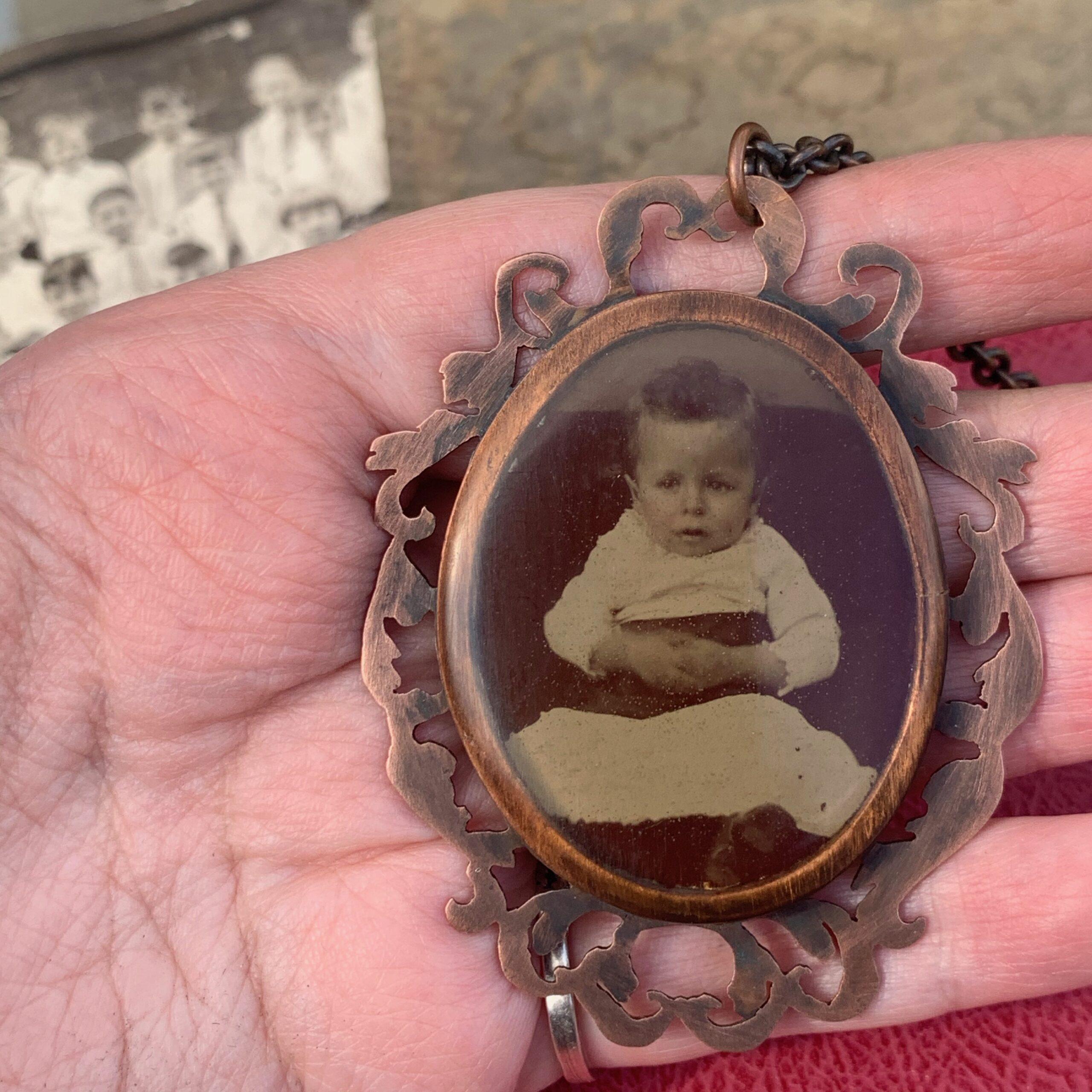 antique photograph necklace