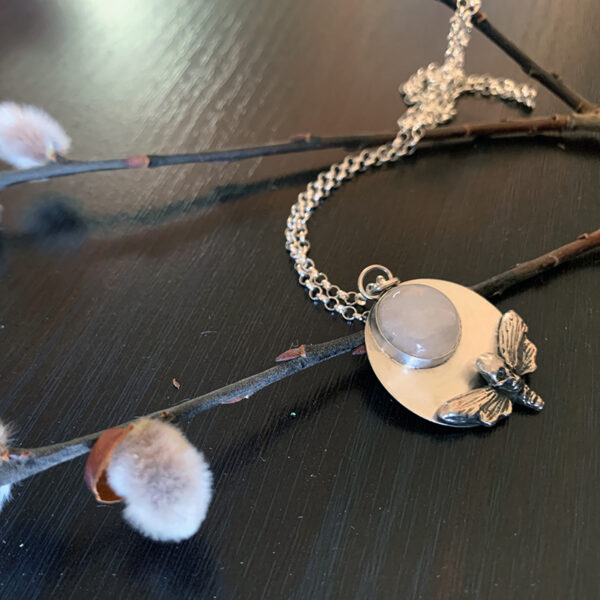 Death's-head hawkmoth and moonstone necklace